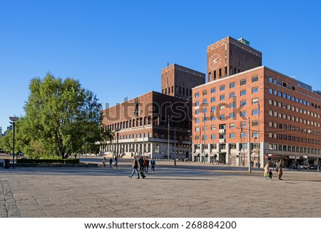 OSLO, NORWAY - OCTOBER 12: Aker Brygge is an area in Oslo, as 4 million visitors a year make Aker Brygge Norway's biggest destination on October 12, 2013 in Oslo, Norway. - stock photo