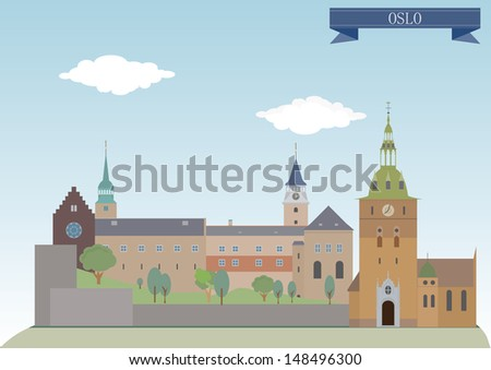 Oslo, Norway. Raster version for you design - stock photo