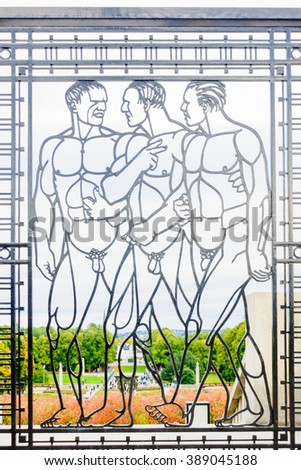 OSLO, NORWAY - SEP 26, 2019: Statue and visitors scenery at the Vigeland Park in Oslo, Norway. The Vigeland Park is the world's largest sculpture park made by a single artist, Gustav Vigeland - stock photo