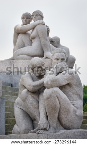 OSLO, NORWAY - SEPT 20:Statues in Vigeland park in Oslo, Norway on Sept 20, 2014. The most famous park in Norway created by sculptor Gustav Vigeland in the years 1907-1942.