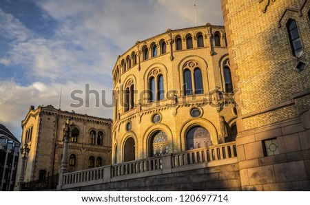 Oslo Parliament Building at Sunset - stock photo