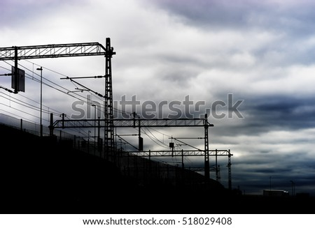 Oslo railroad communications silhouette background