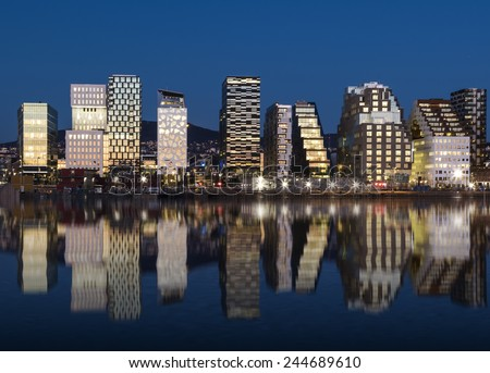 Oslo Skyline by night - stock photo