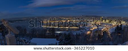 Oslo Skyline winter morning panorama - stock photo