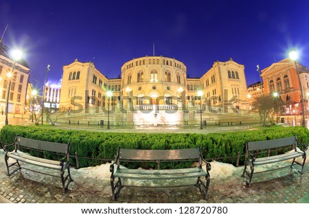 Oslo Stortinget Parliament at dusk Norway - stock photo
