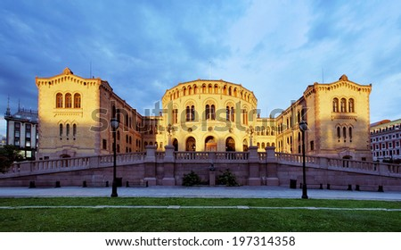 Oslo Stortinget Parliament at sunset, Norway - stock photo