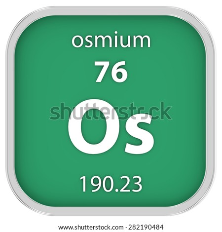 Osmium material on the periodic table. Part of a series. - stock photo