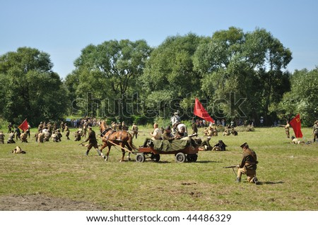 OSSOW - AUGUST 16: Participants of historical Battle of Warsaw (1920), reenact the Soviet soldiers on August 16, 2009 in Ossow, Poland.