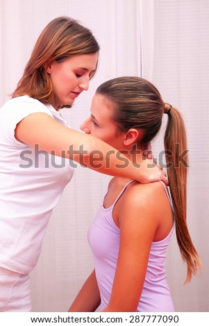 osteopathic technical evaluation for cervical spine - stock photo