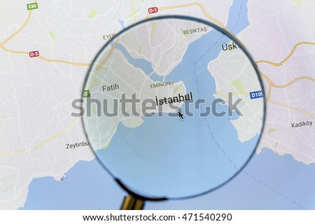 Ostersund, Sweden - Aug 21, 2016: Istanbul on Google Maps under a magnifying glass. Istanbul is the most populous city in Turkey