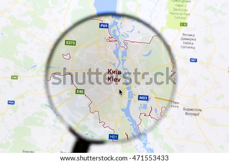 Ostersund, Sweden - Aug 21, 2016: Kiev on Google Maps under a magnifying glass. Kiev is the capital and largest city of Ukraine
