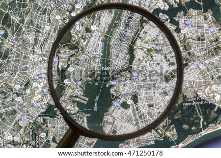 Ostersund, Sweden - Aug 20, 2016: New York on Google Maps under a magnifying glass. New York is the most populous city in the United States