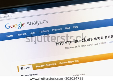 Ostersund, Sweden - August 1, 2015: Close up of Google analytics main page on a computer screen. Google Analytics is a service offered by Google that generates statistics about a website's traffic. - stock photo