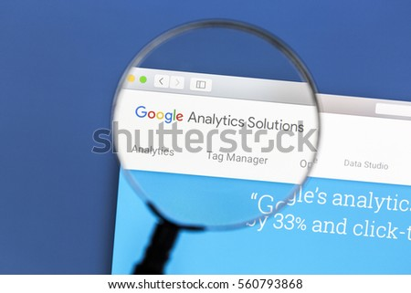 Ostersund, Sweden - Jan 19, 2017: Google Analytics website on a computer screen. Google Analytics is a web analytics service offered by Google