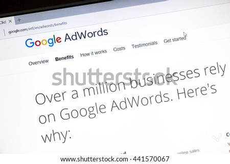 Ostersund, Sweden - June 23, 2016: Google Adwords website on a computer screen. Google AdWords is an online advertising service.