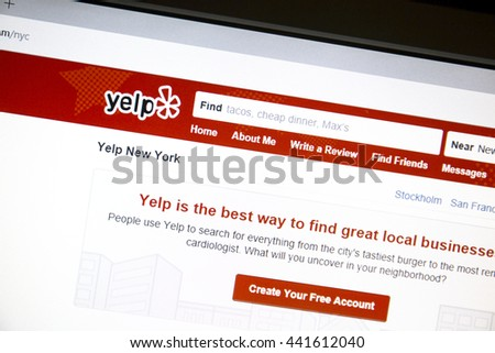 Ostersund, Sweden - June 23, 2016: Yelp website on a computer screen. Yelp is an American multinational corporation which publish crowd-sourced reviews about local businesses. - stock photo