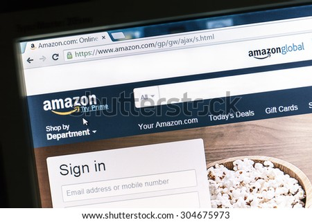 Ostersund, Sweden -May 16, 2014: Amazon website displayed on a computer screen. Amazon is an american international electronic commerce company and the worlds largest online retailer.