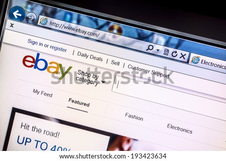 Ostersund, Sweden - May 16, 2014: Close up of ebay's website on a computer screen. ebay is one of the largest online auction and shopping websites in the world.  - stock photo