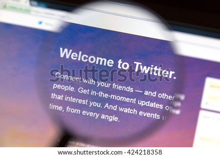 Ostersund, Sweden - May 22, 2016: Twitter's website on a computer screen. Twitter is a free social networking and microblogging service - stock photo