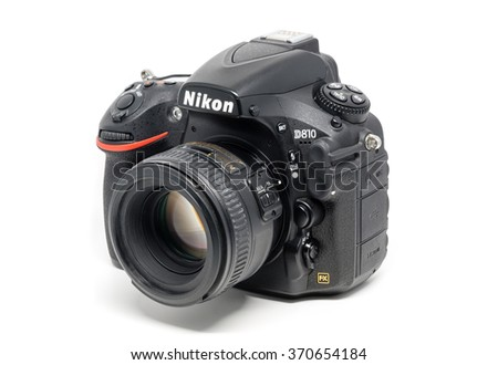 OSTFILDERN, GERMANY - JANUARY 24, 2016: A Nikon D810 camera body with Nikkor 50mm 1:1,4 lens, the first digital SLR camera in Nikon's history to offer a minimum standard sensitivity of ISO 64 and - stock photo