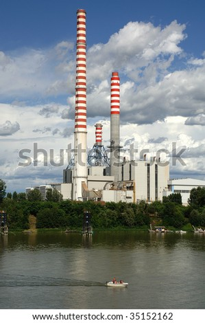 Ostiglia Mn),Lombardy,Italy, the thermoelectric Central on the river Po