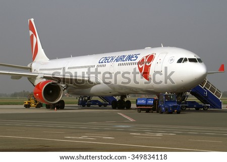 OSTRAVA, CZECH REPUBLIC - APRIL 1, 2014: Czech Airlines company Airbus A330 prepared to load passengers for short flight to Bratislava, as a part of an introduction of this new aircraft in CSA fleet. - stock photo