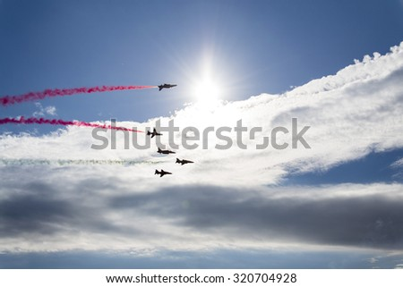 OSTRAVA, CZECH REPUBLIC - SEPTEMBER 22: Red Arrows jets during airshow session NATO Days on September 22, 2012 in Ostrava, Czech republic. 208 000 people visited NATO Days.