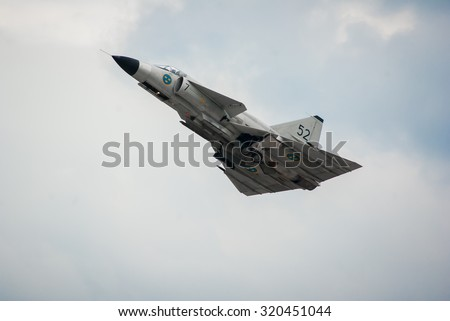 OSTRAVA, CZECH REPUBLIC-SEPTEMBER 19-20: 842 Swedish Air Force Saab JA 37 Viggen during airshow session NATO Days on September 2015 in Ostrava, Czech Republic - stock photo