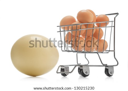 Ostrich egg and chicken eggs in basket for foodstuffs on white background - stock photo