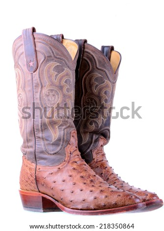 Ostrich leather boots isolated on a white background - stock photo