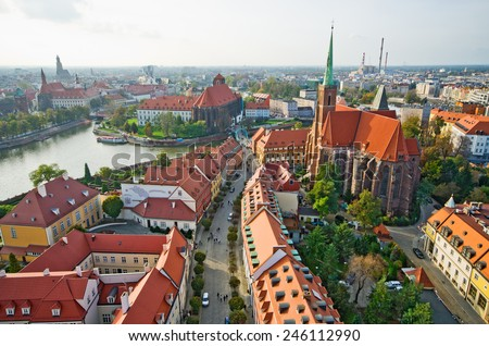 Ostrow Tumski in Wroclaw from cathedral tower, Poland - stock photo