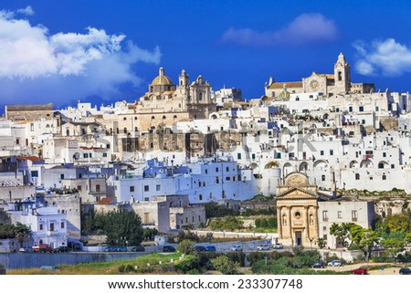 Ostuni - white town in Puglia, South Italy - stock photo