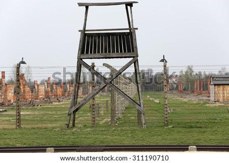 OSWIECIM, POLAND - APRIL 16, 2015: Auschwitz II Birkenau. Poland. The biggest nazi concentration camp in Europe and now the State Museum Auschwitz-Birkenau. - stock photo