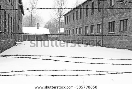 OSWIECIM, POLAND - DECEMBER 28, 2010: Auschwitz II Birkenau concentration camp located in the west of Krakow, Poland