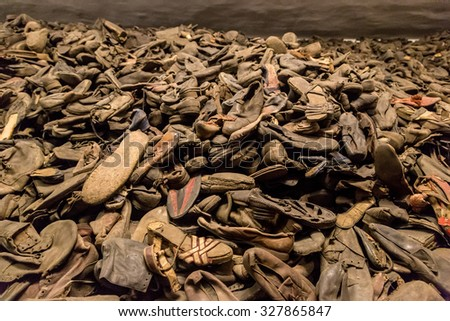 OSWIECIM, POLAND - JULY 22: Boots of victims in Auschwitz. It is the biggest nazi concentration camp in Europe on July 22, 2014 in Oswiecim, Poland