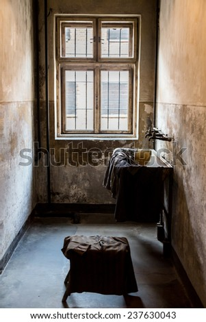 OSWIECIM, POLAND - JULY 22: Exhibition in Concentration camp in Auschwitz. It is the biggest nazi concentration camp in Europe on July 22, 2014 in Oswiecim, Poland