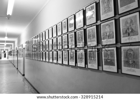 OSWIECIM, POLAND - JULY 12: Exhibition in Concentration camp in Auschwitz. It is the biggest nazi concentration camp in Europe on July 12, 2011 in Oswiecim, Poland - stock photo
