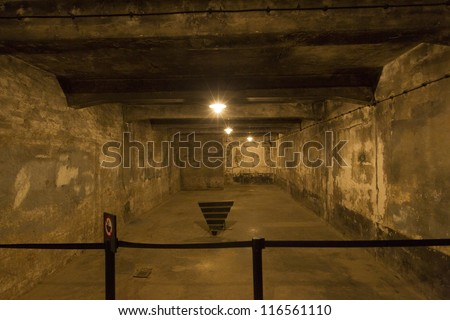 OSWIECIM, POLAND - OCTOBER 22: The gas chamber in Auschwitz I, a former Nazi extermination camp on October 22, 2012 in Oswiecim, Poland. It was the biggest nazi concentration camp in Europe.