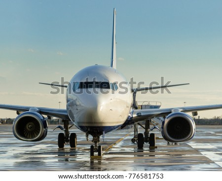 Otopeni, Romania, December 2017:  airplane parked at the terminal, engine closeup