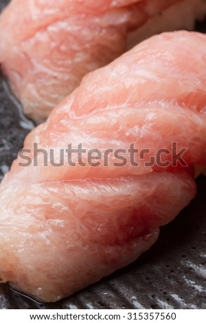 Otoro Sushi (Fatty tuna) Maguro on white background
