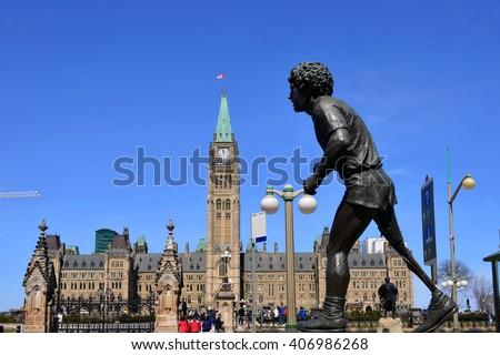 OTTAWA - APR 16, 2016: Statue of Terry Fox across street from Parliament Building in Ottawa. Fox is revered by Canadians for running a marathon a day on one leg to raise money for cancer research.   - stock photo