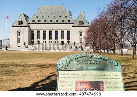 OTTAWA, CANADA - April 15, 2016: The Supreme Court of Canada. - stock photo