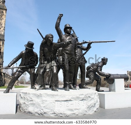Ottawa, Canada - April 2017: The War of 1812 National War Memorial/Monument on Parliament Hill, Ottawa, Ontario, Canada's Capital