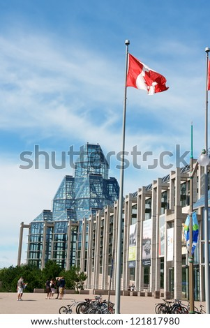 OTTAWA, CANADA - AUGUST 08: National Gallery of Canada on August 08, 2008 in Ottawa, Canada. This modern glass and granite building by Moshe Safdie houses the museum since 1988. - stock photo