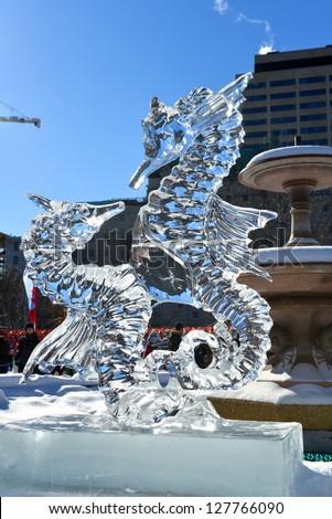 OTTAWA, CANADA - FEB 9:  Ice sculpture on display at the Winterlude Festival Confederation Park February 9, 2013 in Ottawa, Ontario, Canada - stock photo
