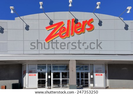 OTTAWA, CANADA - JAN 25, 2015: One of two remaining stores under Zellers banner serves as liquidation center for Hudson's Bay.  The chain closed in 2013 and had most of it sites taken over by Target. - stock photo