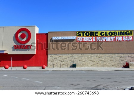 OTTAWA, CANADA - MAR 12, 2015:Soon to be closed Target in Nepean, Ottawa.  The US retail chain announced it would close all of its Canadian stores in January after  failed attempt to expand to Canada  - stock photo