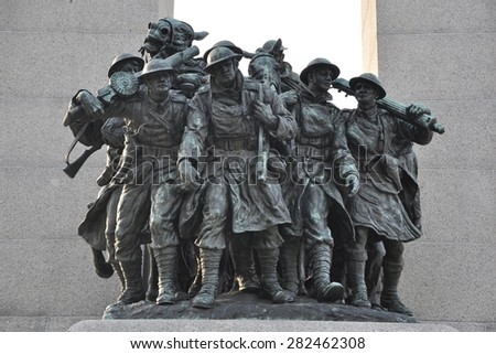 Ottawa, Canada - May 24, 2015: Sculptures of soldiers at National War Memorial  in downtown Ottawa.  - stock photo