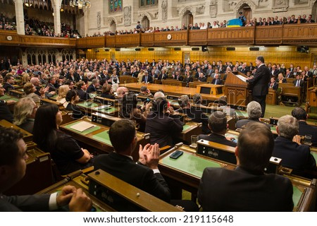 OTTAWA, CANADA - Sep 17, 2014: President of Ukraine Petro Poroshenko during the joint meeting of the House of Commons and the Senate of the Parliament of Canada in Ottawa (Canada) - stock photo