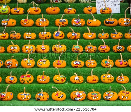 OTTAWA, CANADA -  11TH OCTOBER 2014: Decorated Pumpkins at a market stall in Ottawa during the day - stock photo